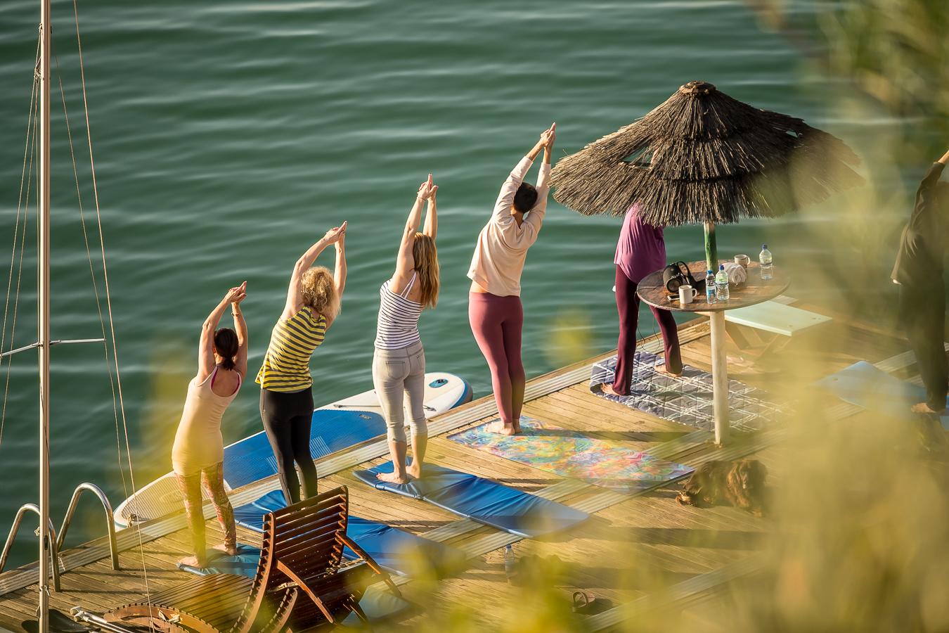 Early morning Yoga before a pre-breakfast swim